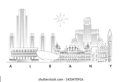 Albany, New York skyline minimal linear vector illustration and typography design