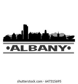 Albany Skyline Silhouette Stamp City Design Vector Art