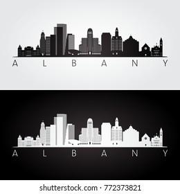 Albany usa skyline and landmarks silhouette, black and white design, vector illustration.