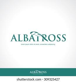 Albatross flying label - vector illustration