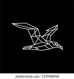 Albatross sign white on black