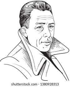 Albert Camus (1913-1960) portrait in line art illustration. He was a French philosopher, author, novelist, playwright and journalist. He received the 1957 Nobel Prize for Literature.
