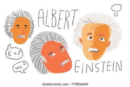 Albert Einstein in artistic vector sketch. December 22 2017