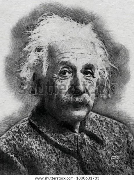 Albert Einstein Engraved Vector Art Illustration