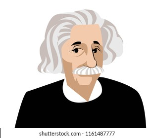 albert einstein face cartoon