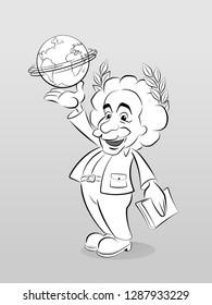 Albert Einstein pictured in a cartoon style, carrying globe of the Earth planet above the palm of a hand - September 2017