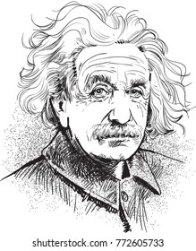 Albert Einstein portrait in line art. Einstein (1879-1955) was a German-born physicist who developed the theory of relativity. His work is also known for its influence on the philosophy of science.