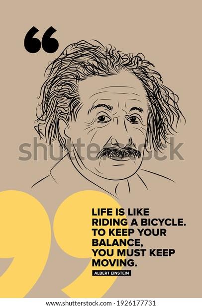 Albert Einstein vector sketch illustration with motivational quote.