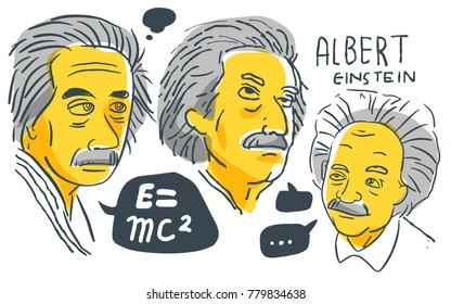 Albert Einstein in yellow and black sketch. December 22 2017