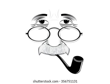 Albert Einstein's silhouette wearing spectacles and with a tube