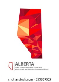 Alberta Canada Map in Low Poly Illustration