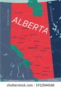 Alberta province vector editable map of the Canada with capital, national borders, cities and towns, rivers and lakes. Vector EPS-10 file