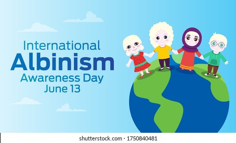 Albino children holding hands, smiling happily and standing against the backdrop of a world map. Text International Albinism Awareness Day. Boy and girls in cartoon style.