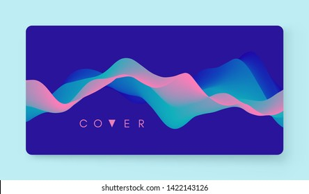 Album cover design template. Abstract background with color gradient. Motion sound wave. Applicable for placards, flyers, banners, brochures, planners or notebooks. Vector illustration.