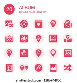 album icon set. Collection of 20 filled album icons included Image, Vinyl, Photo album, Placeholder, Picture, Photoshop elements, Photo, Photograph, Shuffle
