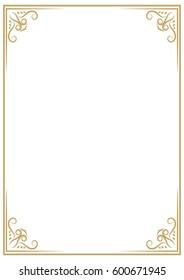 album orientation vintage gold frame isolated on white background