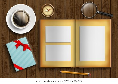 Album with photo frames and gift box. Vector illustration.