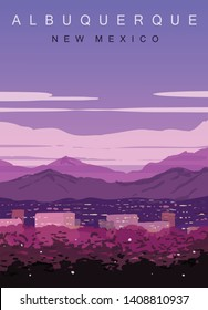 Albuquerque modern vector poster. Albuquerque, New Mexico landscape illustration. Top 30 most populated cities of the USA.