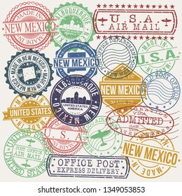Albuquerque New Mexico Set of Stamps. Travel Stamp. Made In Product. Design Seals Old Style Insignia.