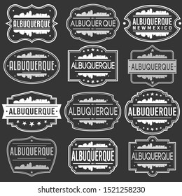 Albuquerque New Mexico Skyline. Premium Quality Stamp Frames. Grunge Design. Icon Art Vector. Old Style Frames.