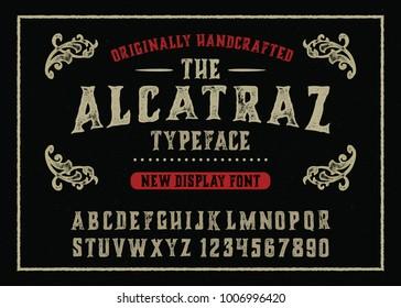 """Alcatraz"".  Vintage gothic font design, handwritten alphabet. Vector illustration"