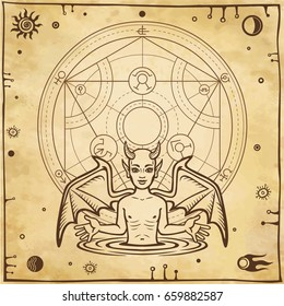 Alchemical drawing: little demon, circle of a homunculus. Esoteric, mystic, occultism. Symbols of the sun and moon. Background - imitation of old paper. Vector illustration.