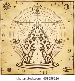 Alchemical drawing: young beautiful woman, Eve's image, fertility, temptation. Esoteric, mystic, occultism. Symbols of the sun and moon. Background - imitation of old paper. Vector illustration.