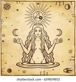 Alchemical drawing: young beautiful woman holds moons in hand. Esoteric, mystic, occultism. Symbols of the sun and moon. Background - imitation of old paper. Vector illustration.