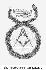 """Alchemical Marriage. Hand drawn vector. Translation : """"Dissolve and coagulate""""."""