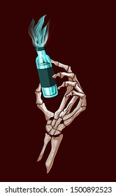 Alchemist skeleton hand holding a bottle of blue liquid . Dead witch, horror chemestry elixir concept, venom medicinal recipe. Halloween trick or treat spooky gothic and evil spell