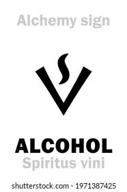 Alchemy Alphabet: ALCOHOL, SPIRIT of WINE (Spiritus vini, Sp.rectif., Ignis aqua), ETHANOL (Ethanolum), also: absolute alcohol, grain alcohol; spirits. Ethyl Alcohol: formula=[С₂H₅OH] and [C₂H₆O].