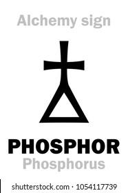 Alchemy Alphabet: PHOSPHOR (Phosphorus), chemical phosphorescent noctilucous substance. Chemical formula=[P].  Medieval alchemical sign (mystic hieroglyphic symbol).