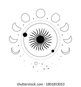 Alchemy esoteric mystical magic celestial talisman with sun, moon phases, stars sacred geometry isolated. Spiritual occultism object. Vector illustrations in black outline style