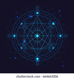 Alchemy Geometry Symbol Thin Line Philosophy Trendy Form or Sign on a Blue Background. Vector illustration