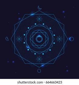 Alchemy Geometry Symbol Thin Line Mystic Polygon Sign on a Blue Background. Vector illustration