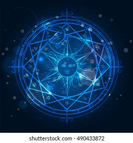 Alchemy magic circle on shining blue background. Vector illustration