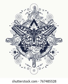 Alchemy, medieval religion, occultism, spirituality and esoteric tattoo. Magic butterfly t-shirt design. Roses and the ship's helm