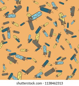 Alchemy seamless pattern background with bottles. Backdrop with cute laboratory bottles. Cartoon chemistry illustration. Magic liquid.