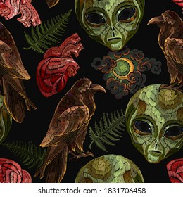 Alchemy seamless pattern. Gothic raven,occult alien head, moon and anatomical heart. Black magic art. Embroidery template for clothes, textile. Tarot card. Esoteric concept