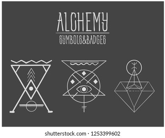 Alchemy. Signs of alchemy. Symbols. A set of alchemical symbols isolated on black. Hand drawn elements for design. Mystical, esoteric, occult theme.