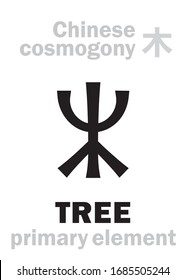 Alchymie Alphabet: TREE / WOOD [木] one of the five primary elements of creation of The World in Chinese philosophy «Wu-Xing» & «Feng-Shui». Chinese hieroglyphic character, sign/symbol of The East.