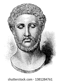Alcibiades,  c. 450404 BC , he was a general and prominent Athenian statesman, one of the political leaders in Athens during the Peloponnesian war, vintage line drawing or engraving illustration