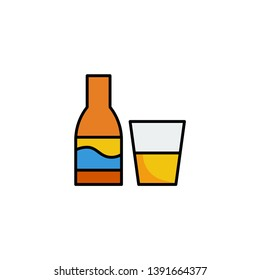 alcohil drink glass and bottle icon vector illustration