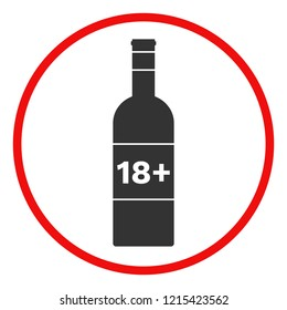 ALCOHOL 18 PLUS sign. Minimum Legal Drinking Age, MLDA notice. Vector.