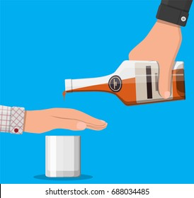 Alcohol abuse concept. Hand gives bottle of whiskey to other hand. Stop alcoholism. Rejection. Vector illustration in flat style