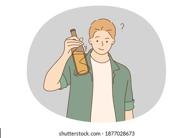Alcohol addicted, spirit drinks, drinking lone concept. Young smiling man cartoon character standing holding bottle of wine, whiskey or other alcohol drink and ready to have it alone