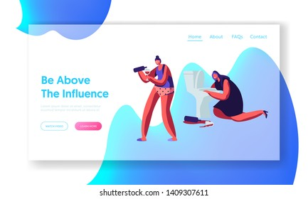 Alcohol Addiction People. Drunken Tipsy Female Characters Having Pernicious Habits Drunk Girls Pouring Wine, Puking in Toilet. Website Landing Page, Web Page. Cartoon Flat Vector Illustration, Banner