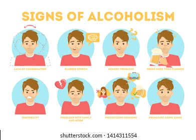 Alcohol addiction symptoms. Alcoholism danger infographic. Chronic disease and health problems. Isolated vector illustration in cartoon style