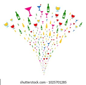 Alcohol Bar Drinks explosion fountain. Vector illustration style is flat iconic symbols. Object fountain done from random pictograms as alcohol bar drinks fireworks.