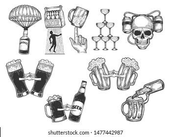 Alcohol bar menu set sketch engraving vector illustration. Scratch board style imitation. Black and white hand drawn image.